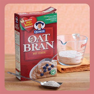 Cholesterol-Lowering Swap for Flour  Baking product: Quaker Oat Bran Hot Cereal  Baking tip: Add cholesterol-lowering soluble fiber to your recipes by replacing a few tablespoons of flour with oat bran. It keeps baked goods moist, too.