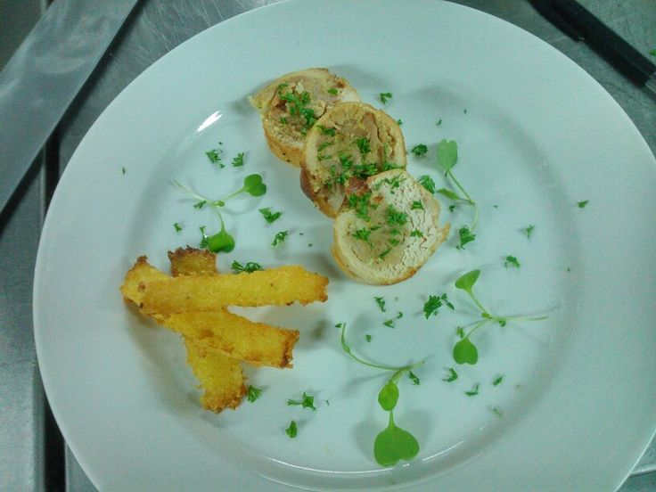 Chicken ballentine with polenta chips