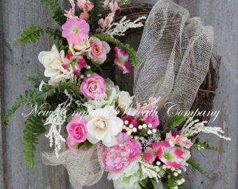 Ghirlanda corona di estate corona floreale di NewEnglandWreath