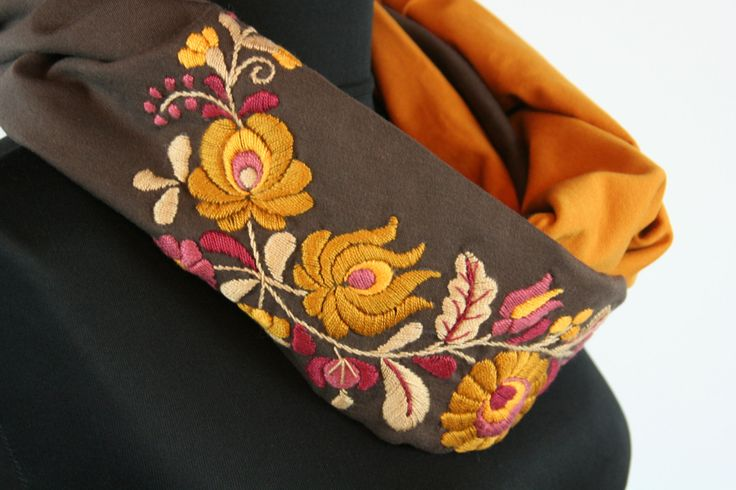 READY TO SHIP - Woman infinity scarf - circle scarf - loop scarf -  hand embroidered - matyo embroidery - mustard yellow chocolate brown by MatyoKid on Etsy