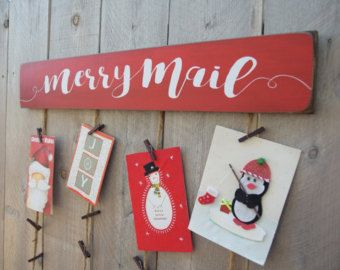 Christmas Card Holder Merry Christmas Card Hanger by BornOnBonn