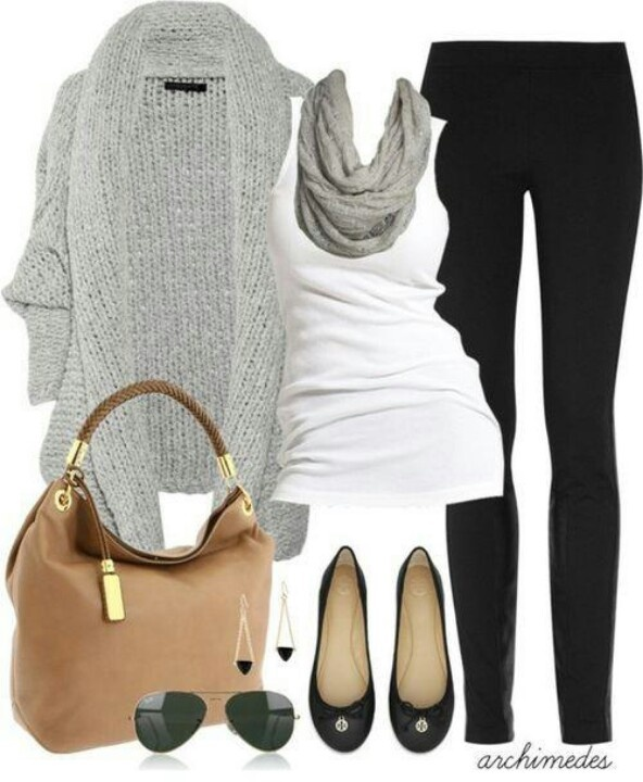 Classy-casual. Comfy, chunky grey sweater over a white tank with soft infinity scarf and black jeans or leggings. Love everything down to the earrings!
