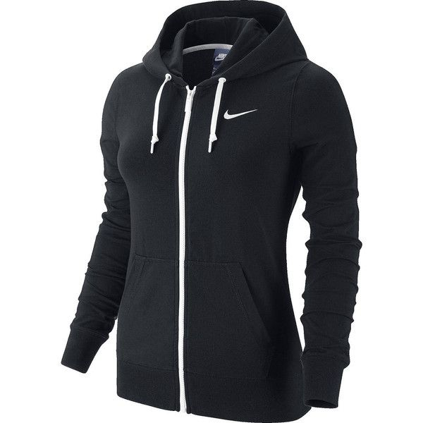 Nike Jersey Hoodie Jacket (£38) ❤ liked on Polyvore featuring activewear, activewear jackets, sports, tops, nike sportswear, nike jerseys, black jersey, sport jerseys and nike