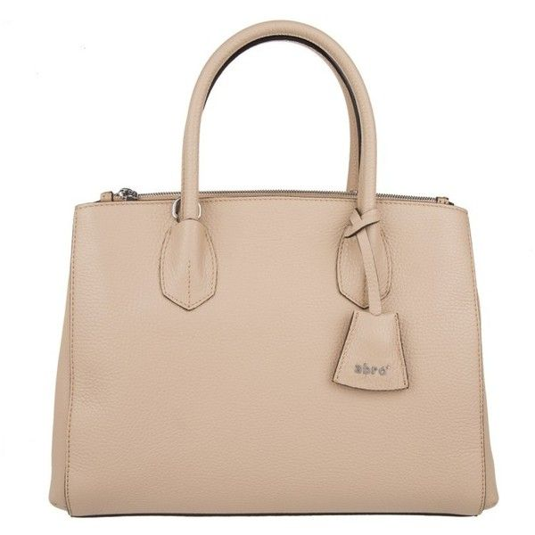 Abro Handle Bag - Adria Leather Tote Natural - in beige - Handle Bag... ($245) ❤ liked on Polyvore featuring bags, handbags, tote bags, beige, handbags totes, genuine leather tote, pink tote bags, beige leather tote and leather tote bags