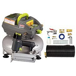 Evolv 3 Gallon Pancake Air Compressor with 2 in. Brad Nailer and Accessory Kit