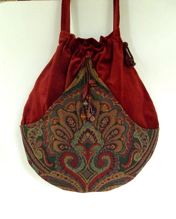 Brick Red Tapestry Pocket Boho Bag  Drawstring by piperscrossing, $60.00