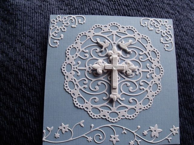 Cheery Lynn Designs Turkish Doily, cross by Spellbinders & Memory Box flowering vine