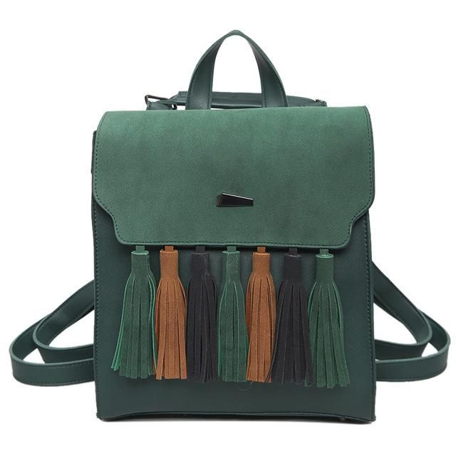 Ladies Vegan Leather Tassel Backpack  An update to the classic shoolbag backpack. Made from Vegan Leather this multi coloured backpack has been updated with tassels and brought the old classic into the new age. Whether it be a backpack for an urban girl, and fancy student or just a lover of quality. Rest assured that this backpack isn't just a looker, as it has enough space for your daily living requirements. A stylish option for any day. Design: Main Material: PU - PU leather is an animal…