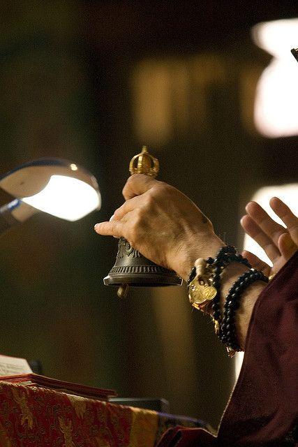 Bell, mala, with hand mudra, His Holiness Jigdal Dagchen Sakya, Tharlam Monastery, Boudha, Kathmandu, Nepal