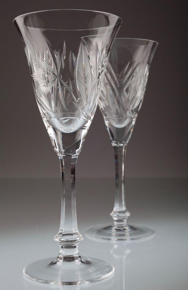2 Vintage Sektgläser Kristall Gläser Schliff Linien Floral Sektkelche *K16