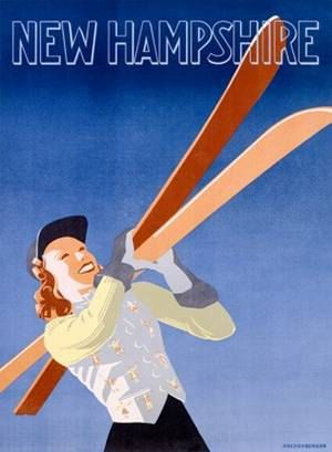 New Hampshire Snow Ski Resort Ad Poster Ad by Vintagemasters, $16.45