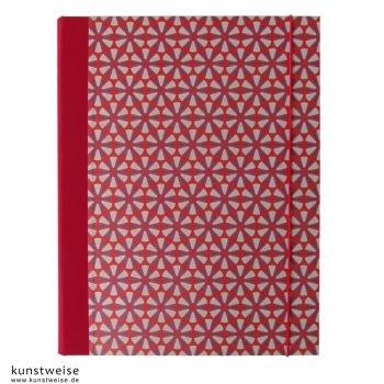 Sammelmappe A4, Motiv: Ornament, rot-blau