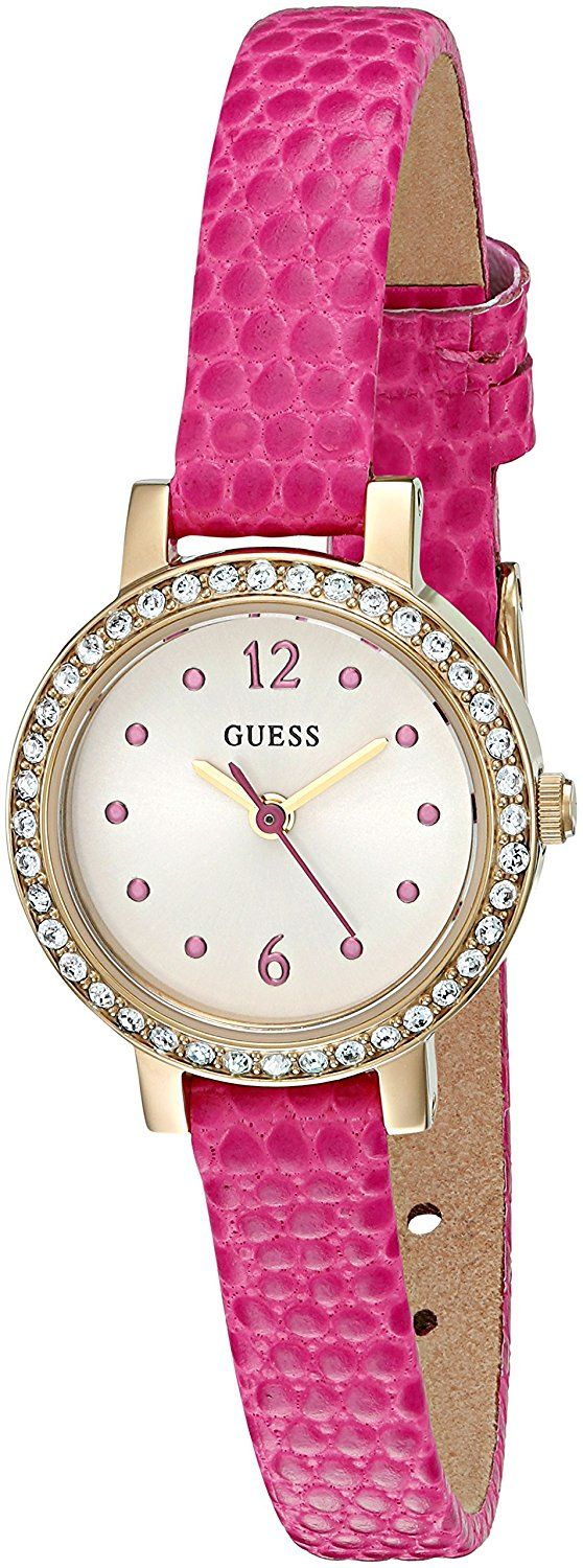 GUESS Women's U0735L3 Petite Hot Pink Watch with Gold-Tone Case ** Want additional info for the watch? Click on the image.
