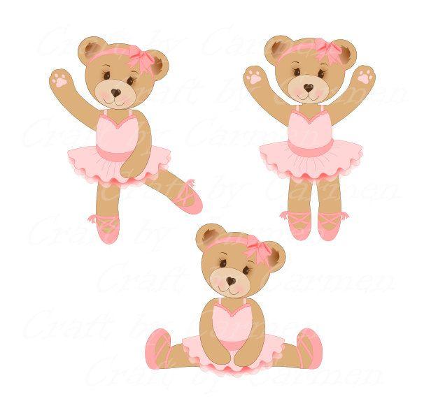 Cute bear, bear ballerina, sweet Teddy bear, dance, (personal & small business use). Transparent background by CraftbyCarmen on Etsy