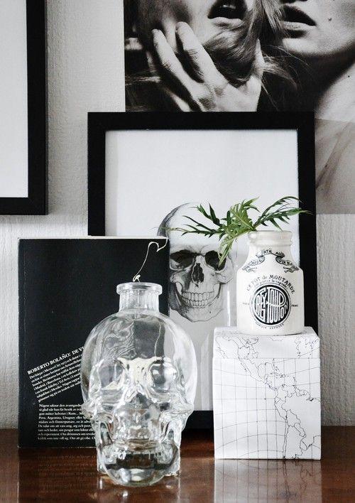 black + white + skulls