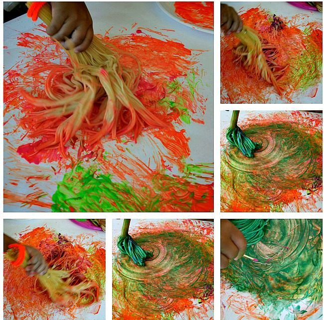Art Activities For Kids Paint With Spaghetti Brooms