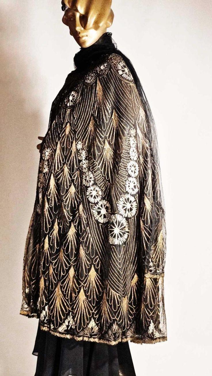 1920s Opera Cloak Gold and Silver Metallic Feather Motif Silk Opera Coat Sz M   eBay
