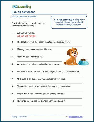 Grade 4 Grammar Worksheets K5 Learning Grammar Worksheets Run On Sentences Worksheets