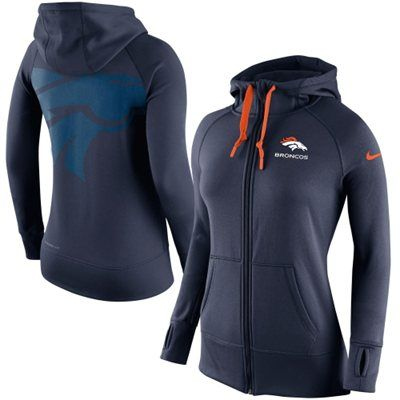 Caity size XL. Women's Denver Broncos Nike Navy Blue Warpspeed All Time Full-Zip Performance Hoodie