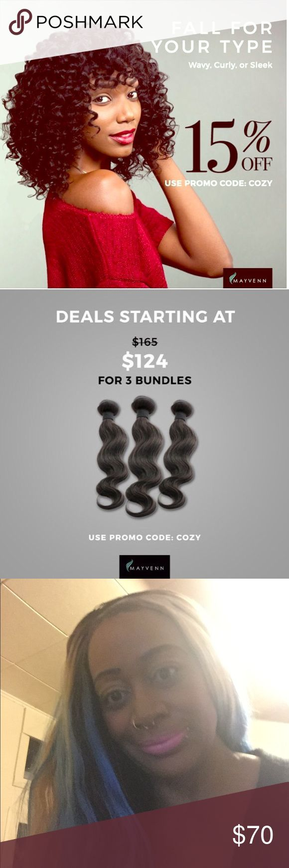 Beautiful 100 percent virgin hair Hi beautiful ladies I'm running a Big Sale all hair 15% percent off and FREE SHIPPING if you order today you will receive your hair by Wednesday morning.Now you must contact me so you can order on my online hair weave shop. Accessories Hair Accessories