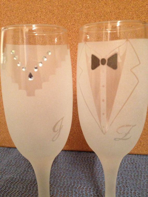 Wedding Bride Groom Etched Champagne Glasses by MagicallyEtched, $20.00