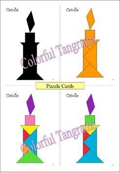 Tangram - 20 Halloween Puzzles - Math Mats, Puzzle Cards &