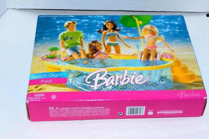 2006 Barbie Beach Glam Pool Accessories Umbrella Toy Set Unopened Mattel