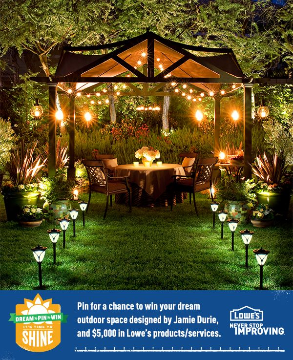 Be sure to click through to enter Lowe's Time to Shine Sweepstakes on Pinterest for a chance to have HGTV's Jamie Durie design your outdoor space.           Homeowner & US Res. 18+/Ends 7/1/13