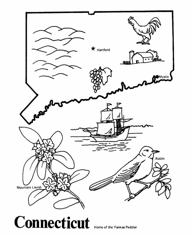 Connecticut State Outline Coloring Page