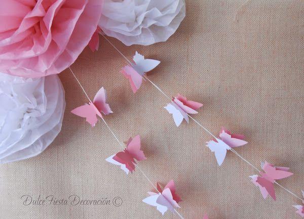 DIY Pompones de papel y guirnaldas Mariposas   Decorar tu casa es facilisimo.com