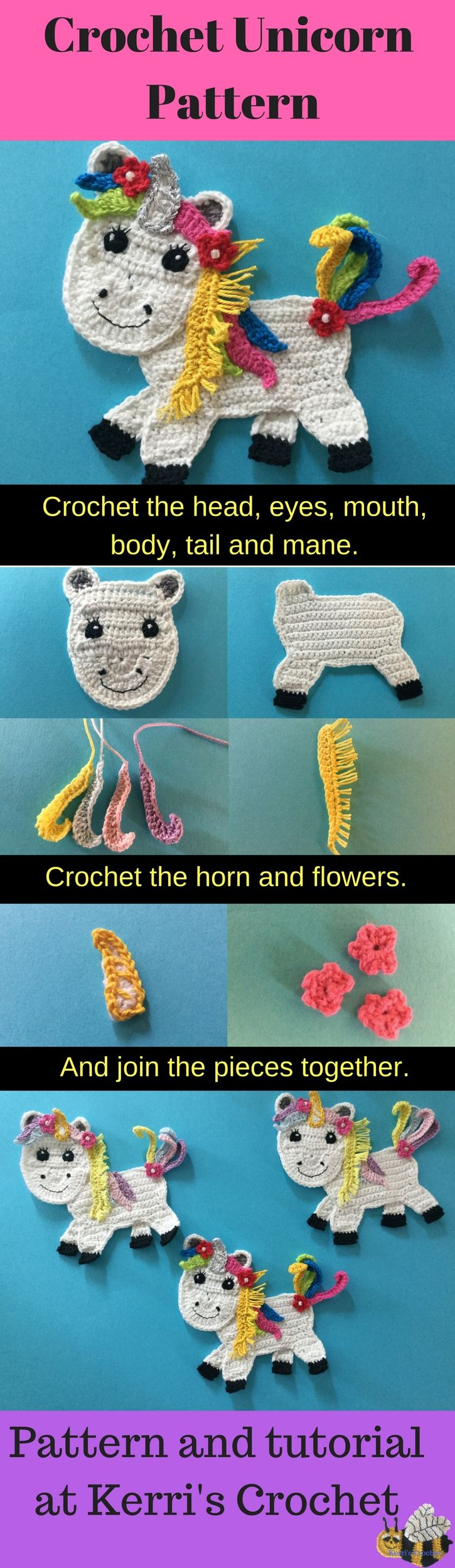 Get the free crochet pattern and video tutorial for this cute unicorn at Kerri's Crochet.