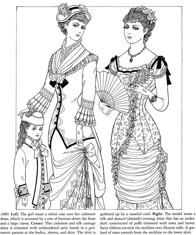 historical fashion coloring pages gownssource