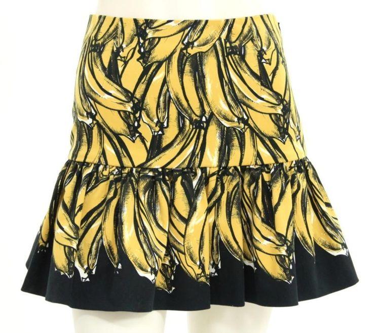 Prada Yellow \u0026amp; Black Banana Print Skirt Size 40 | Print Skirt ...