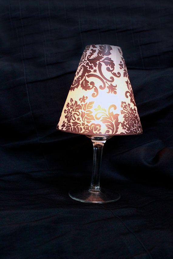 Damascato luminare vino vetro coprire, paralume di Damasco, Damasco vino luminare, Damasco tabella Decor, sposa di Damasco-set di 10
