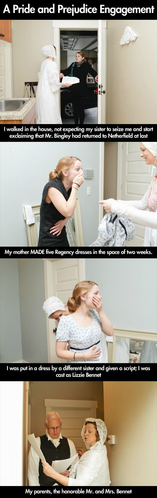 Pride and Prejudice Engagement… (Click through for the rest.) This is so adorable!!