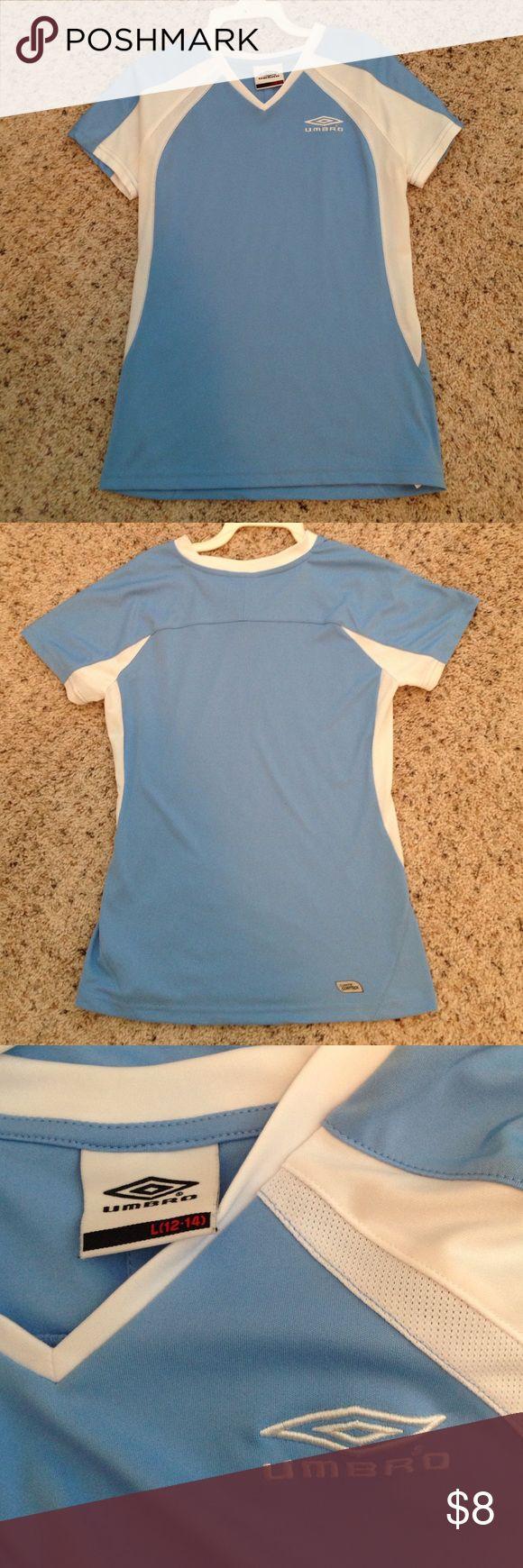 Umbro shirt Light blue and white Umbro shirt. Kids size large (12-14), like new condition Umbro Shirts & Tops Tees - Short Sleeve