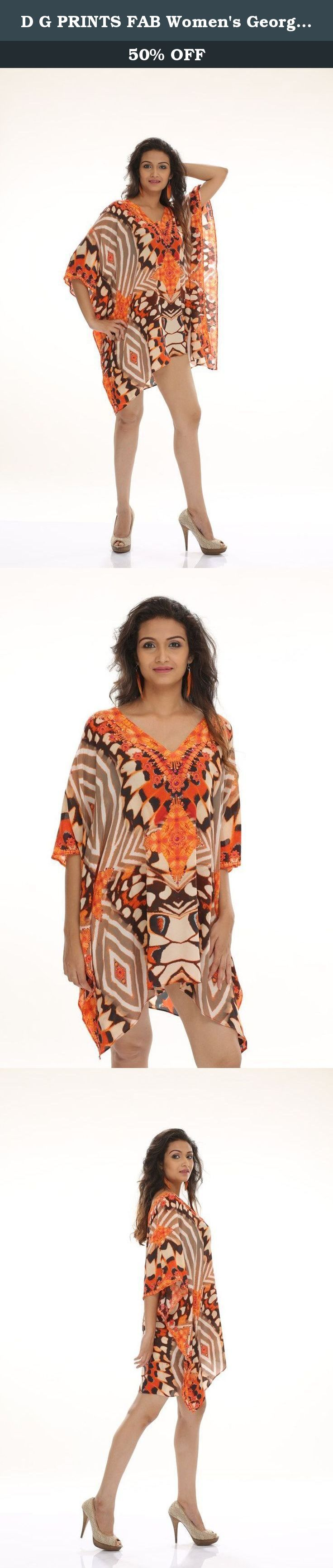 D G PRINTS FAB Women's Georgette Printed Turkish Kaftans Beachwear Bikini Cover up Dress Free Size Multi Color Digital Print. The D G PRINTS FAB Custom Design Digitally Printed Georgette Beach Wear Kaftan (Style No. DGPF-034) is perfect for the warmer climates, they add an awesome splash of vibrant colour and print to your wardrobe. Throw in one these elegant Kaftans in to your suitcase for a tropical vacation getaway, or slip into your shoulder bag for a quick and seamless transition…