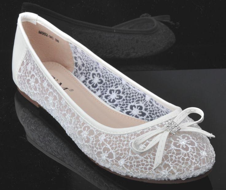 OFF Dentelle Blanche Strass Mariage Ballerines Mariée Chaussures Plates UK 3 4 5 | eBay
