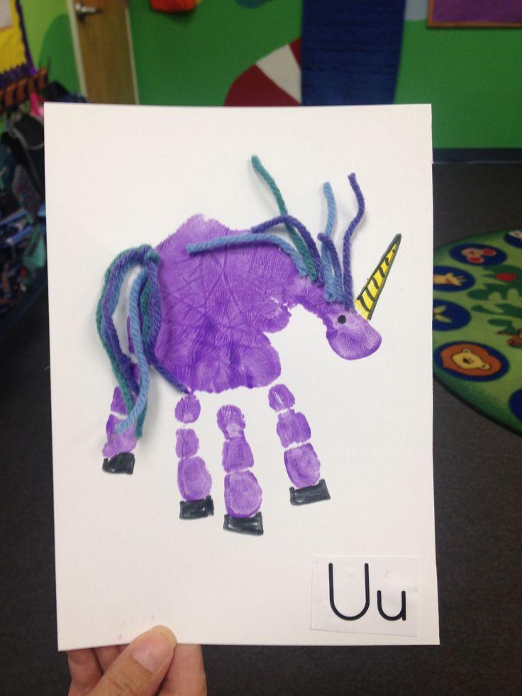 U- Unicorn. Hand print crafts.