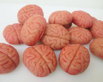 Cervelli di marzapane (16) - decorazioni fondente cervello-cervello cupcake idee - zombie cupcake commestibili cervello - Halloween cupcake-partito delle zombie