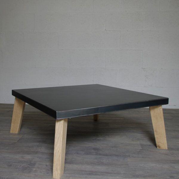 table basse industrielle style industriel fabriqu e dans notre atelier plateau en acier brut. Black Bedroom Furniture Sets. Home Design Ideas