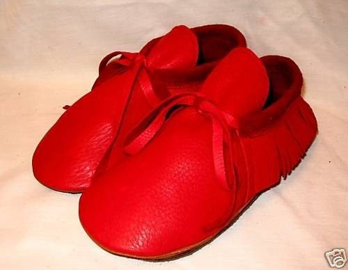 Artisan Made Red Leather Moccasins Custom Leather Indian Style Shoes Handmade by Debbie Leather, via Etsy.