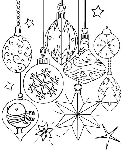 Printable Christmas ornament coloring page. Free PDF download at http://coloringcafe.com/coloring-pages/christmas-ornament/