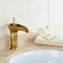 Wine Glass style Single Lever waterfall Bathroom Basin Faucet Brass Antique Hot and Cold bathroom Sink Mixer Taps H12112(China (Mainland))
