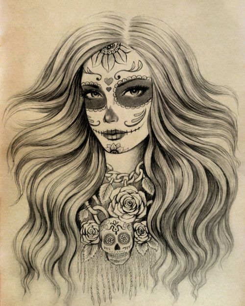 Sugar Skull Girl Drawing Tumblr Download
