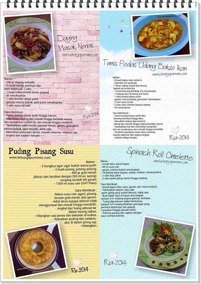 Daging masak nenas, tumis pedas udang bakso ikan, pudding Pisang susu, spinach roll omelette
