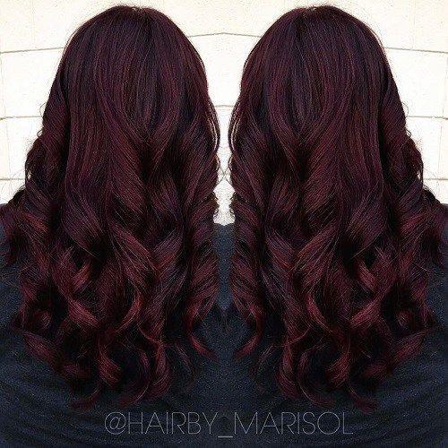 dark burgundy hair with highlights