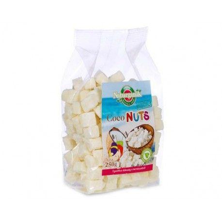 KOKOSOVÉ KÚSKY. Nahraďte nezdravé mlsanie týmito chutnými kúskami prírodného kokosu s brusnicami. Chuť a zdravie,  ruka v ruke.