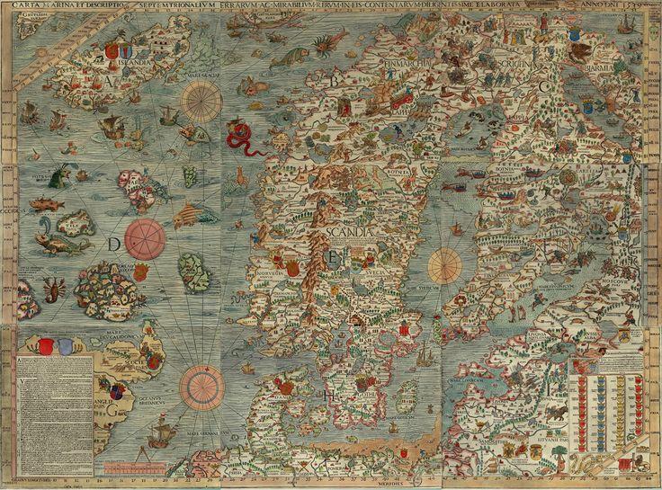 Carta Marina, mapa de 1512, cheio de monstros dos mares e outras figuras, interessante...