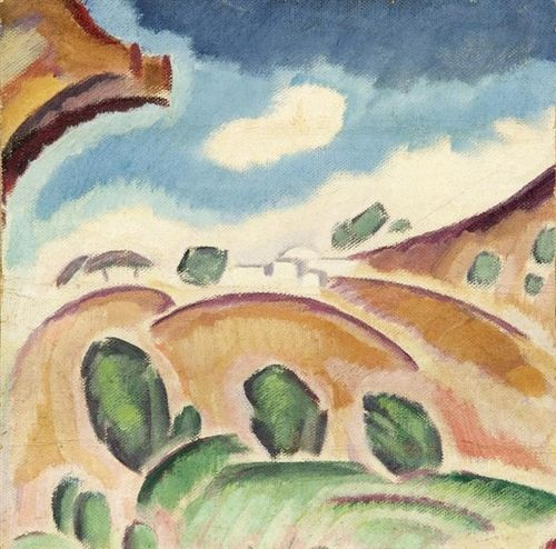 Konstantinos Parthenis (Greek, 1878-1967), Landscape view (from the Adoration of the Magi), c.1917-19. Oil on canvas, 34 x 34 cm.